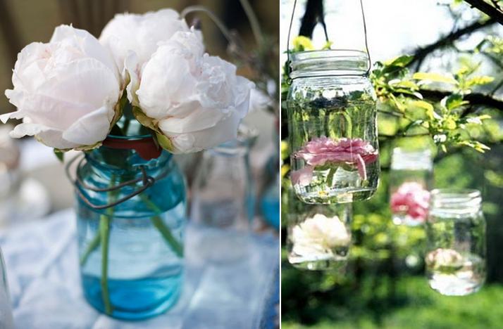 Decor ideas with mason jars passionately weddings photo junglespirit Choice Image